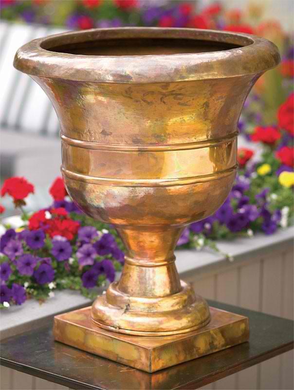 copper garden urn