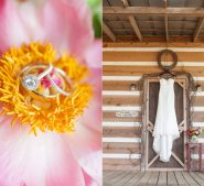 Wedding rings and wedding dress hanging from cabin door at Destarte Wedding Venue and Barn in North Carolina
