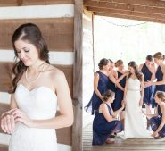 Bridal part and bride on front porch of cabin at Destarte Wedding Venue and Barn in North Carolina