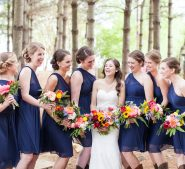 Bridal party in the forest at Destarte Wedding Venue and Barn in North Carolina