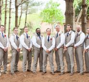 Groomsmen and groom at Destarte Wedding Venue and Barn in Lawndale, NC