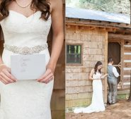 Love letters from bride and groom, first look, at Destarte Wedding Venue in North Carolina