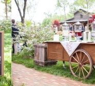 Refreshment bar at rustic, country, vintage wedding in Lawndale NC at Destarte