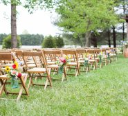 Vintage wooden chairs for a wedding ceremony at Destarte
