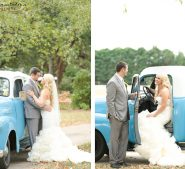 Old time vintage blue truck with bride and groom at Destarte Wedding Venue in North Carolina